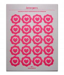 Sticker fluorroze hart Letterpers