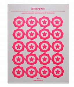 Sticker fluorroze ster Letterpers 1
