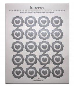 Sticker zilver hart Letterpers 1