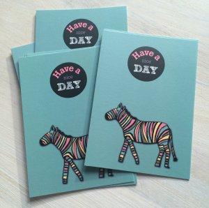 """Have a nice day"" kaart zebra LVP 3"