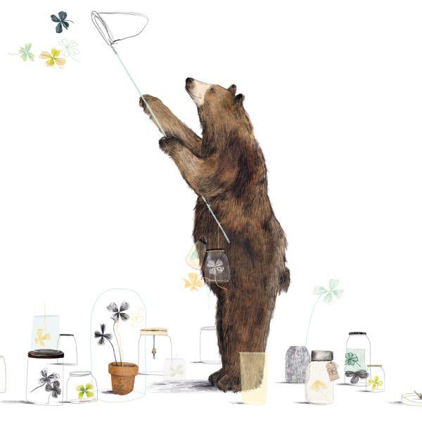 A3 poster beer vangt klavertje 4 Ruth Hengeveld