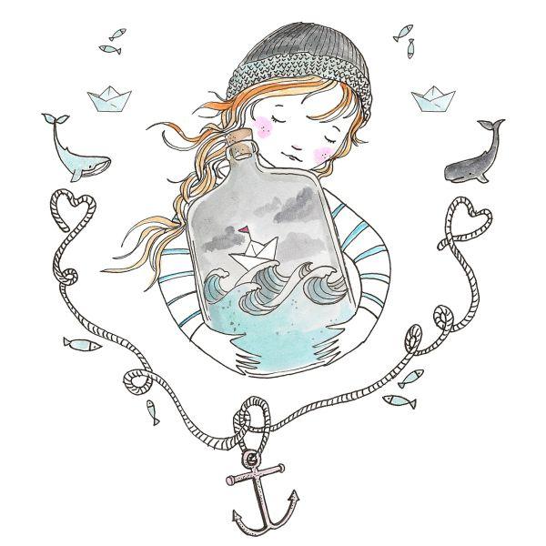 Kaart meisje schat van de zee Marieke ten Berge