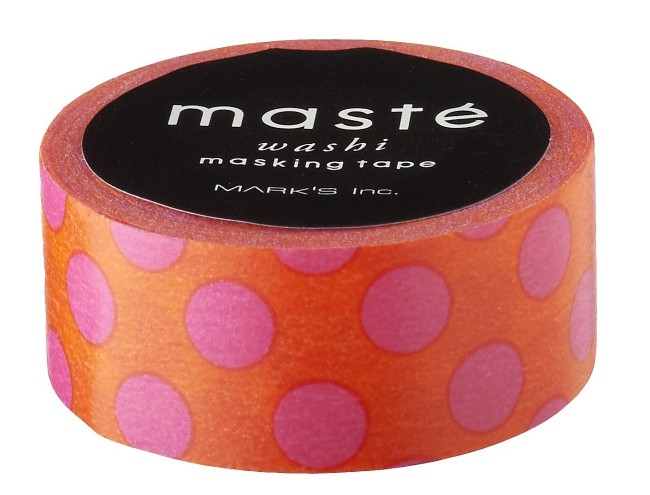 Maskingtape oranje met roze stip of polkadot Masté