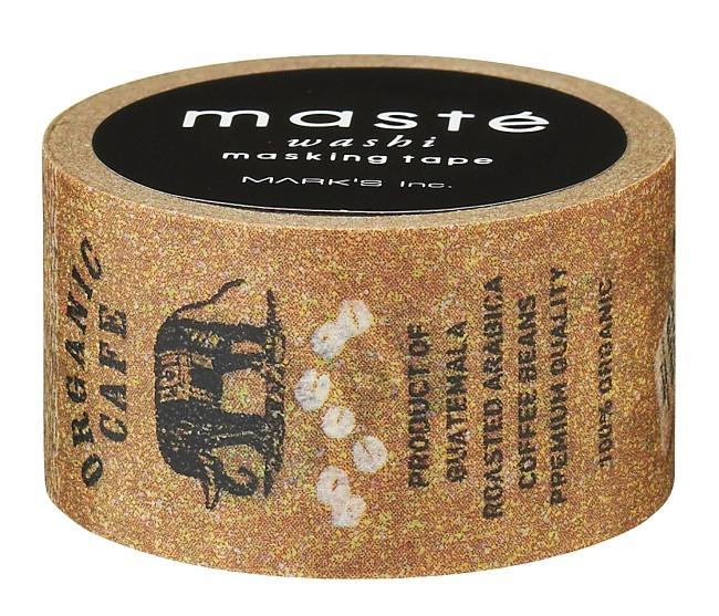 Masking tape organic koffie bruin met print