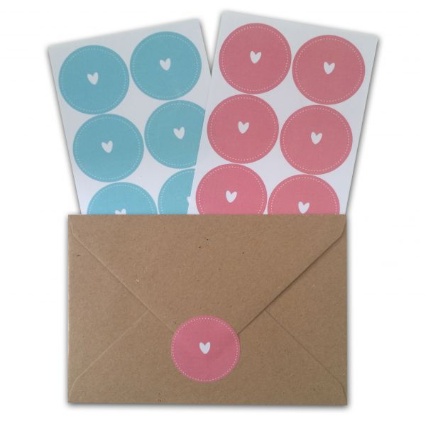 Sluitzegels of sticker rose of lichtblauw met hart