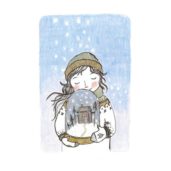 Kaart meisje winter sneeuwbol, Marieke ten Berge
