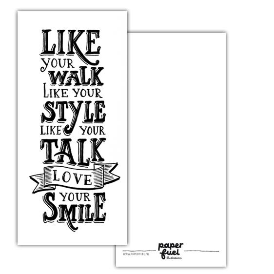 Kaart Love your smile, Paperfuel