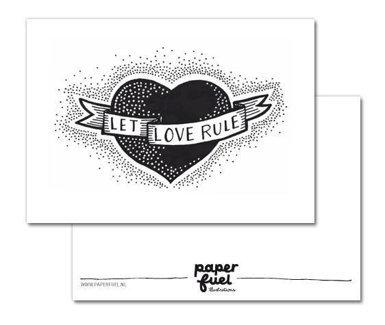Kaart Let love rule, Paperfuel