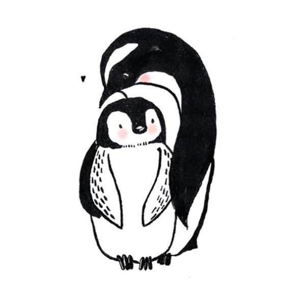A4 poster pinguin met jong Marieke ten Berge