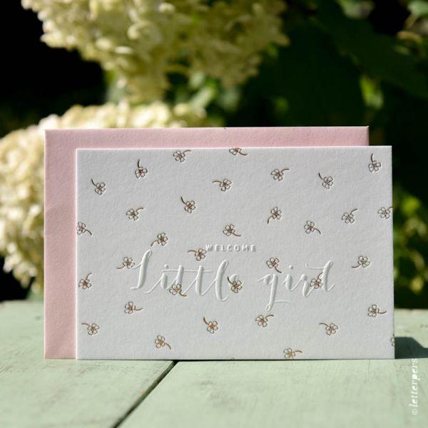 Kaart little girl bloemetjes Letterpers