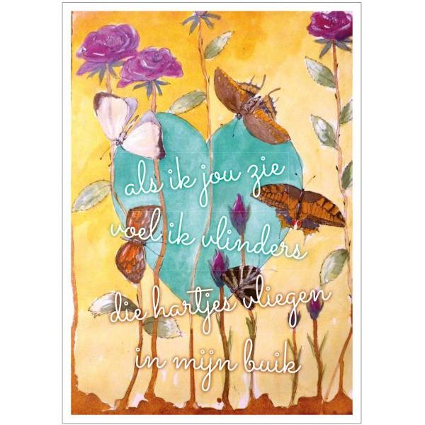 Kunst kaart vlinders in mijn buik Anna & Evie