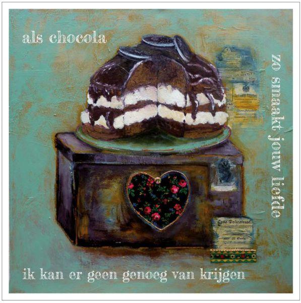 Kunst kaart chocola, Anna & Evie