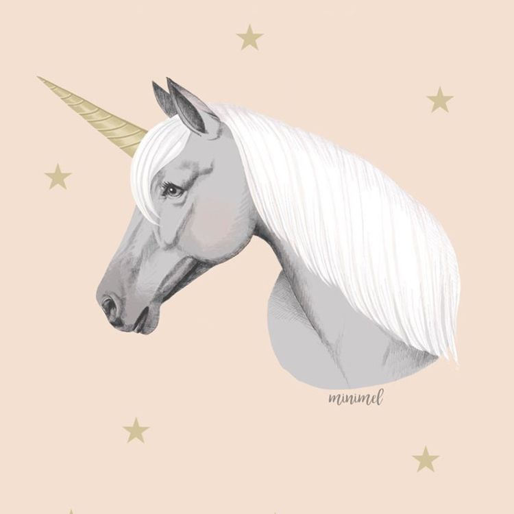 A6 of A5 kaart eenhoorn of unicorn, Minimel
