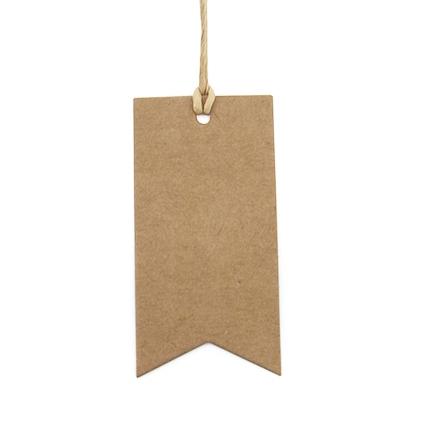 Kraft tag/label vlag vorm