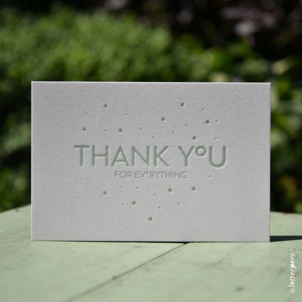 """Wenskaart """"Thank you"""" ambachtelijk gedrukt van Letterpers"""