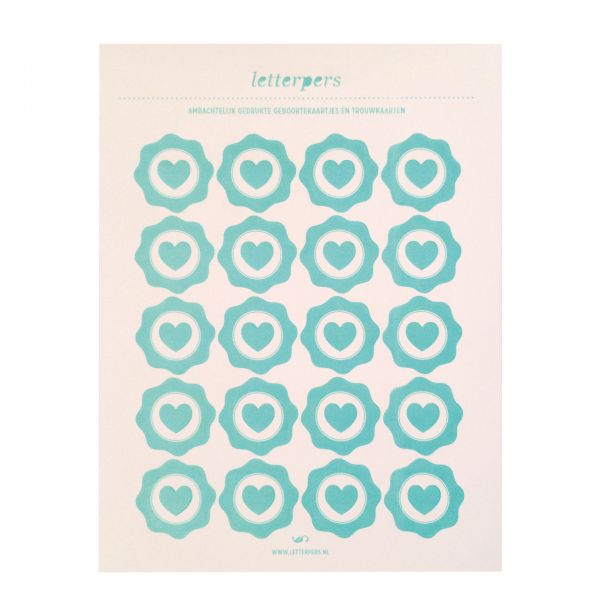 Sticker mint hart Letterpers