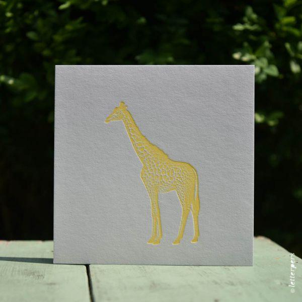 Giraf kaart fluor geel Letterpers