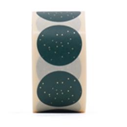 (Kerst) Sticker groen met goud spikkel