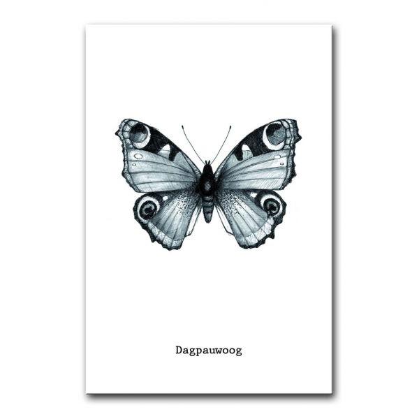 Kaart dagpauwoog vlinder zwart/wit BDDesigns