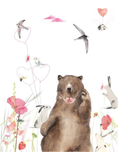 Kaart zwaaiende beer, Ruth Hengeveld