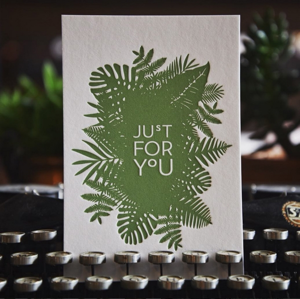 "Kaart ""Just for you"" groen Letterpers"