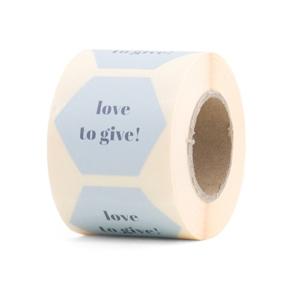 Sticker love to give blauw