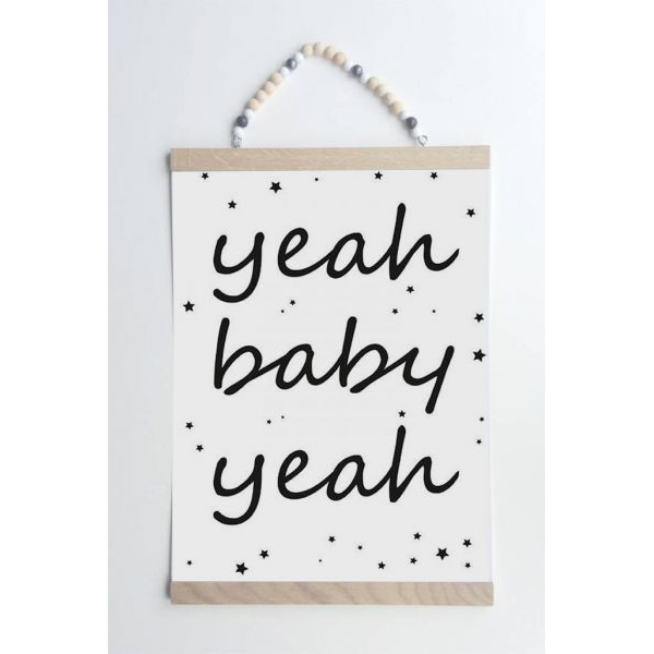 Yeah baby yeah poster A4 zwart/wit Sparkling Paper