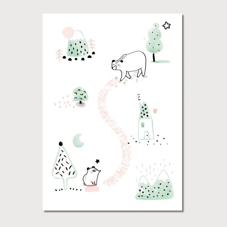 A5 kaart beren, Charlotte & the Teapot