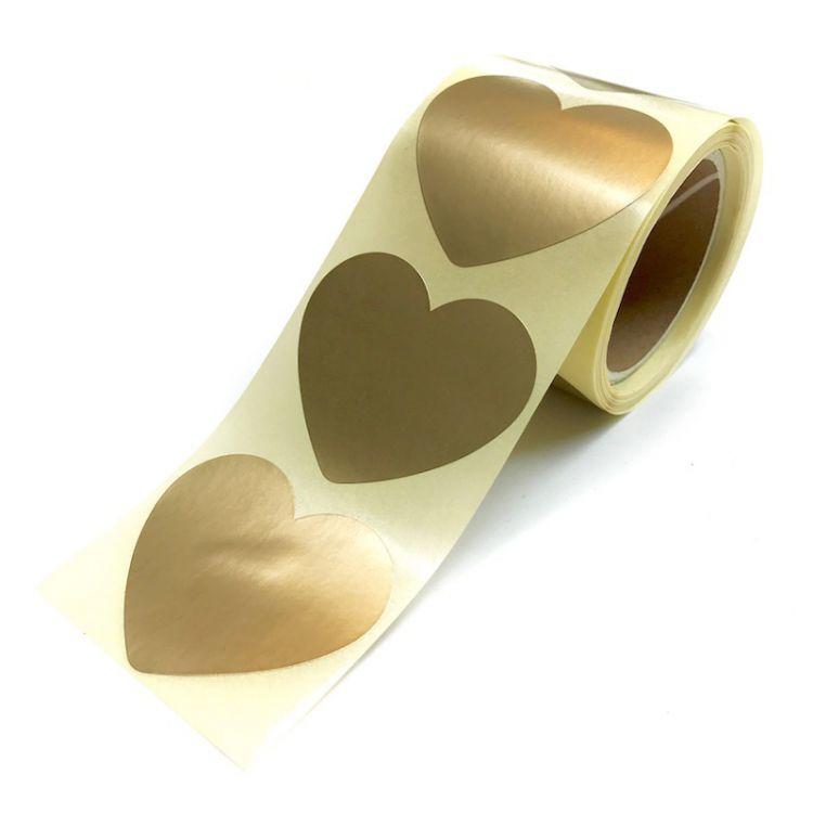 Sticker matgoud hart groot of klein