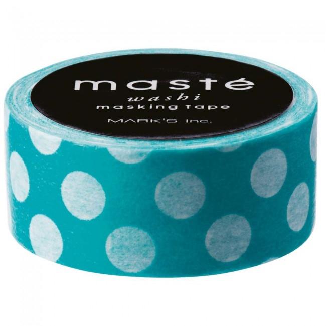 Maskingtape turquoise met witte dot, Masté