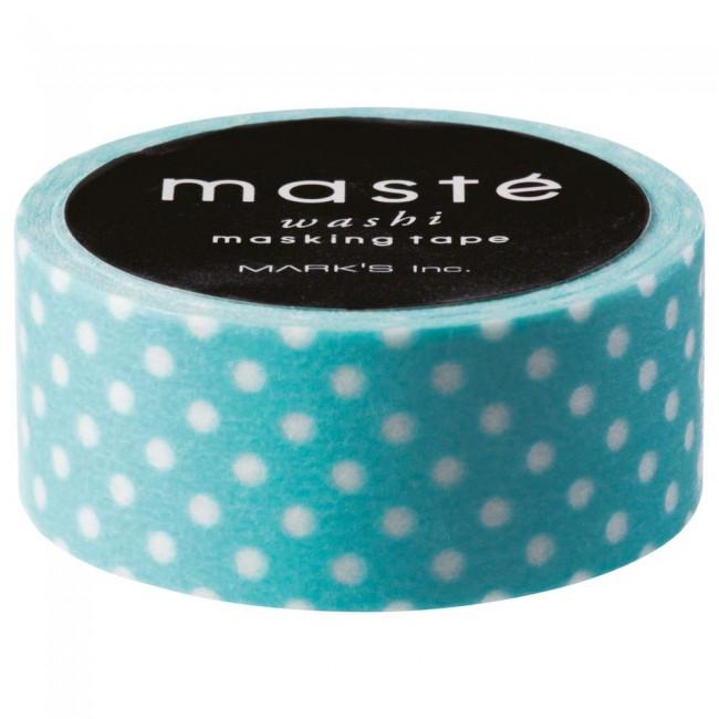 Masking tape turquoise met witte stip, Masté