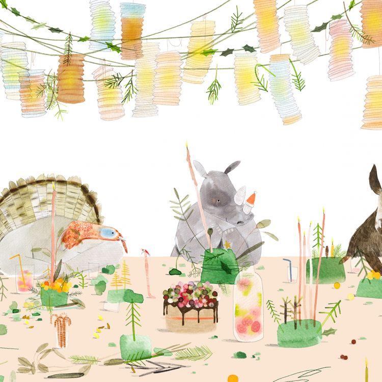 A5 kaart kerstfeest dieren, Ruth Hengeveld