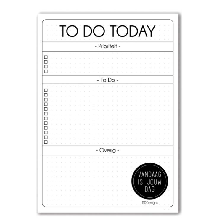 To Do Today blok, BDDesigns