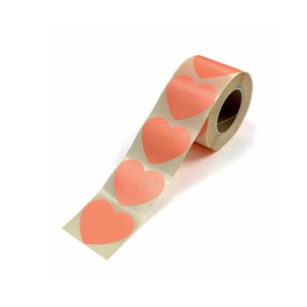 Sticker hart neon oranje (groot/klein)