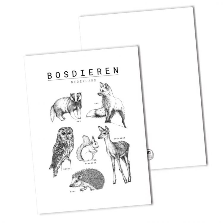 Kaart bosdieren collage, BDDesigns