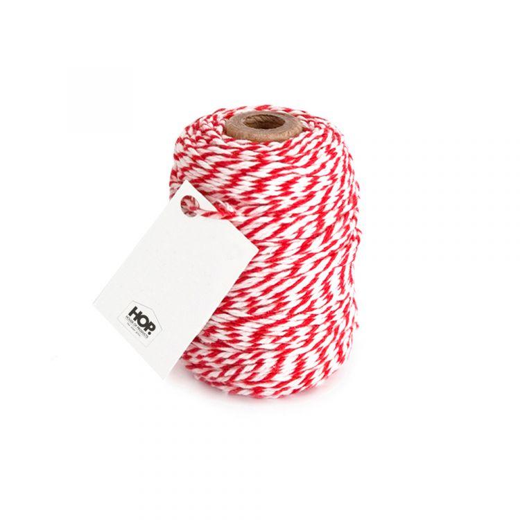 Rolletje touw rood/wit gestreept HOP