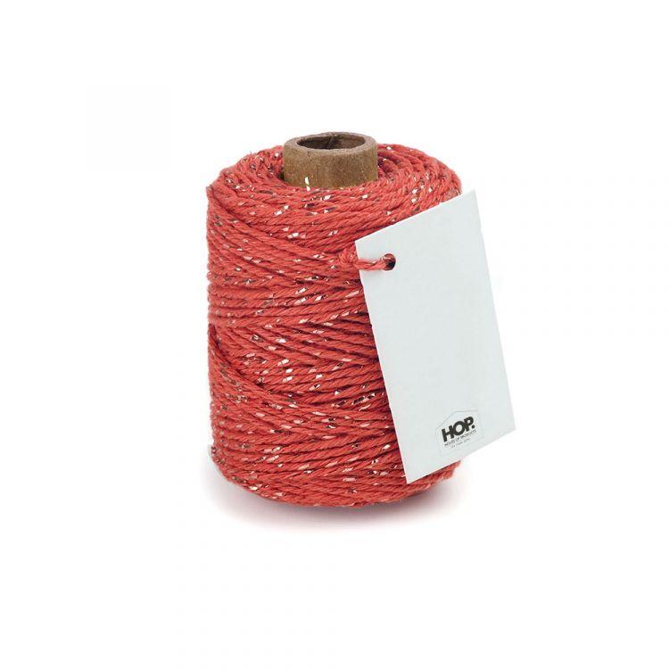 Rolletje touw oranjerood met goud HOP