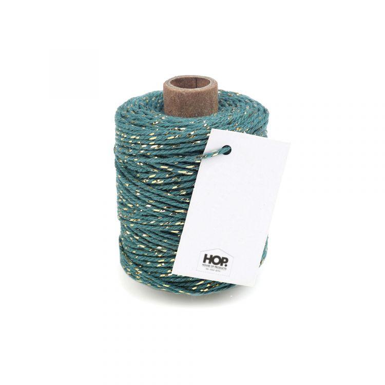 Rolletje touw turquoise met goud HOP