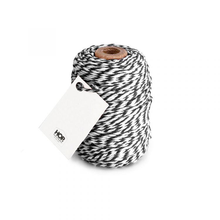 Rolletje touw zwart/wit gestreept HOP