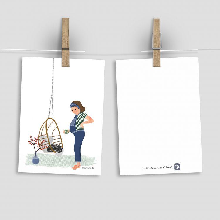 Belly kaart 'kat in hangstoel' Studio Zwaanstraat