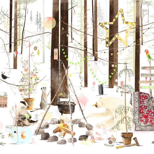 A3 (Kerst) Poster ijsbeer in het bos, Ruth Hengeveld