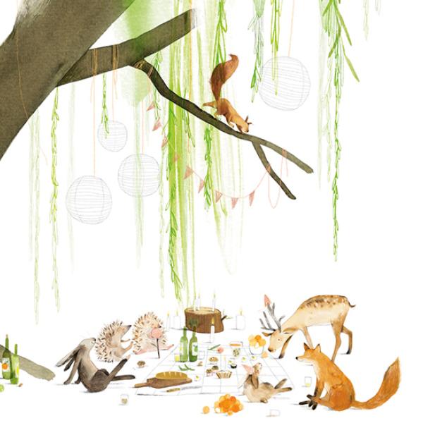 A6 kaart dieren onder boom, Ruth Hengeveld