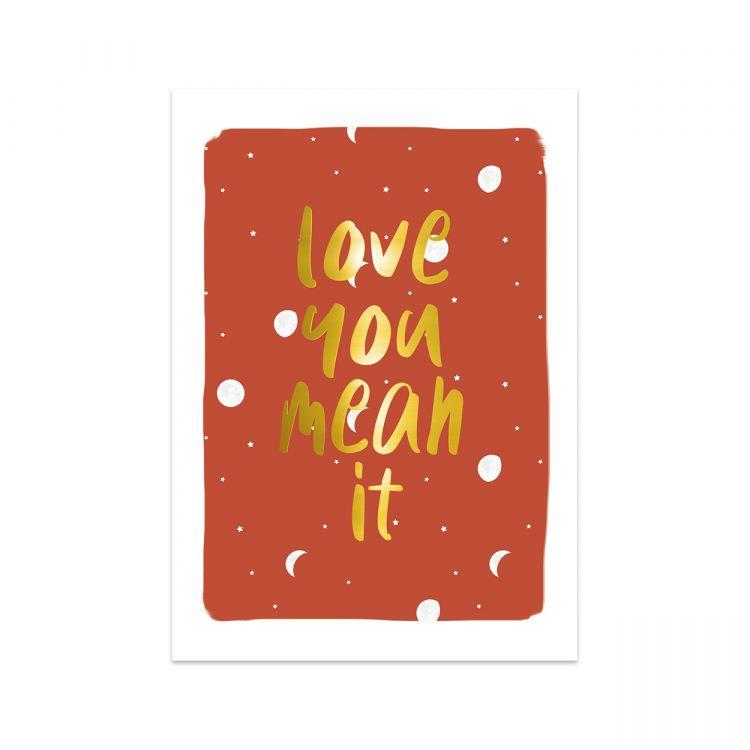 Kaart love you mean it, Studio Stationery