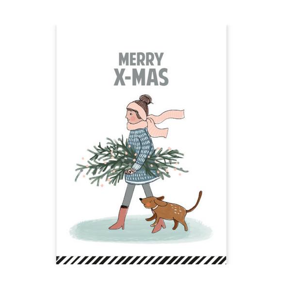 Kerstkaart Merry X-mas illustratie (CWH)