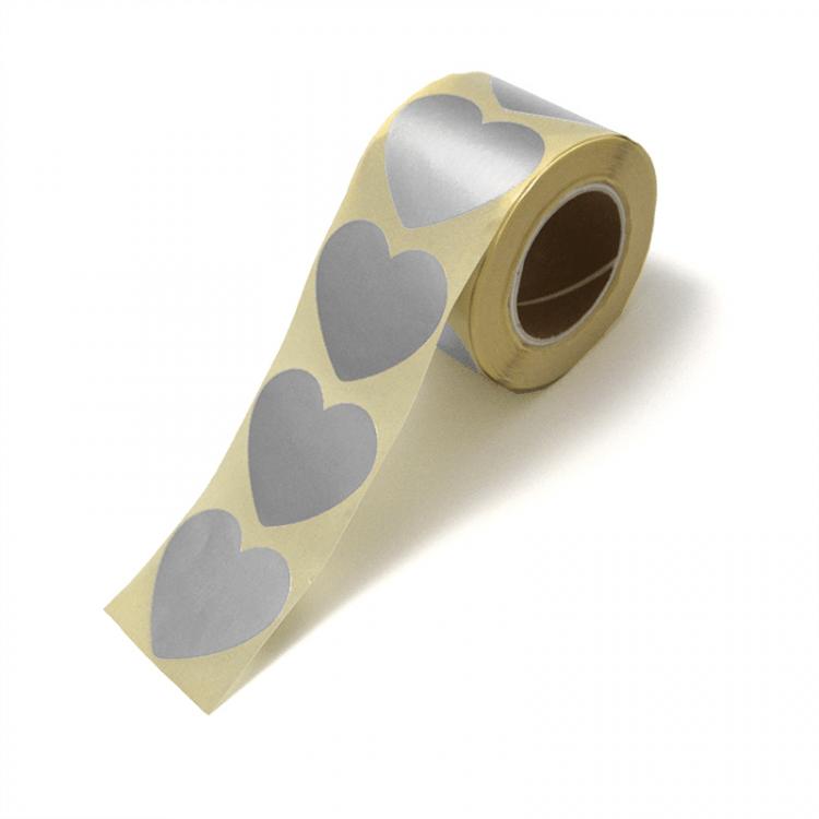 Sticker hart zilver groot of klein