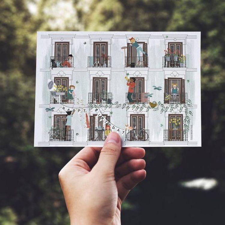 Dubbele kaart 'Lente', Studio Zwaanstraat
