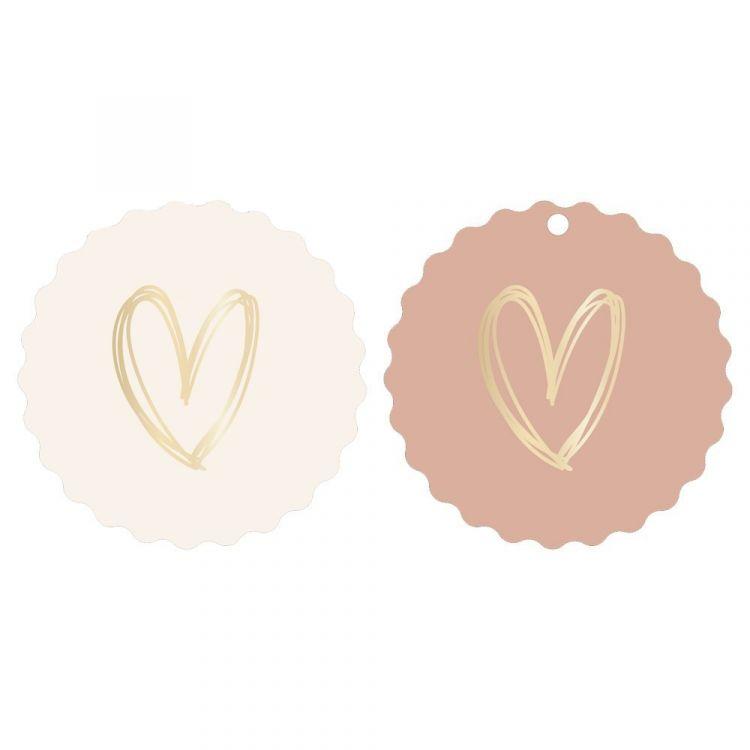 Tag of kaartje rose met hart