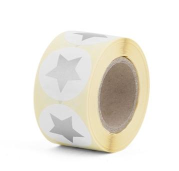 Sticker wit rond met zilveren ster