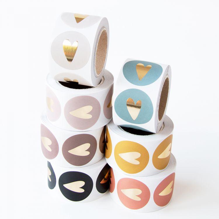 Mat gekleurde stickers gouden hart (HOP)