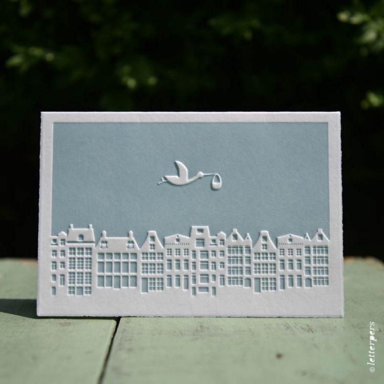 Kaart baby skyline blauw, Letterpers